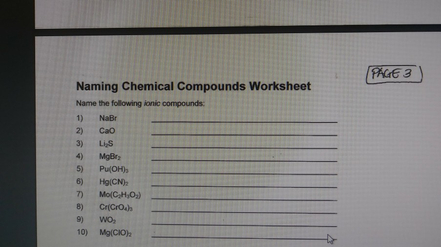 Solved Pag6 3 Naming Chemical Compounds Worksheet Name Th