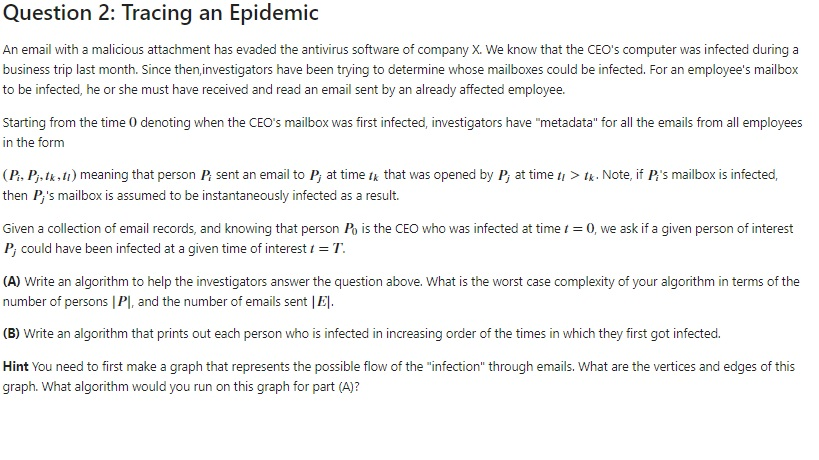 Question 2: Tracing An Epidemic An Email With A Ma