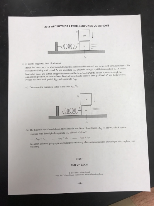 Solved: 2018 AP PHYSICS 1 FREE-RESPONSE QUESTIONS 2n 5? (7