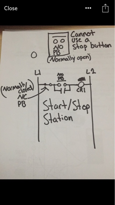 Solved Draw A Circuit On A Ladder Diagram No Pushbutton Chegg Com