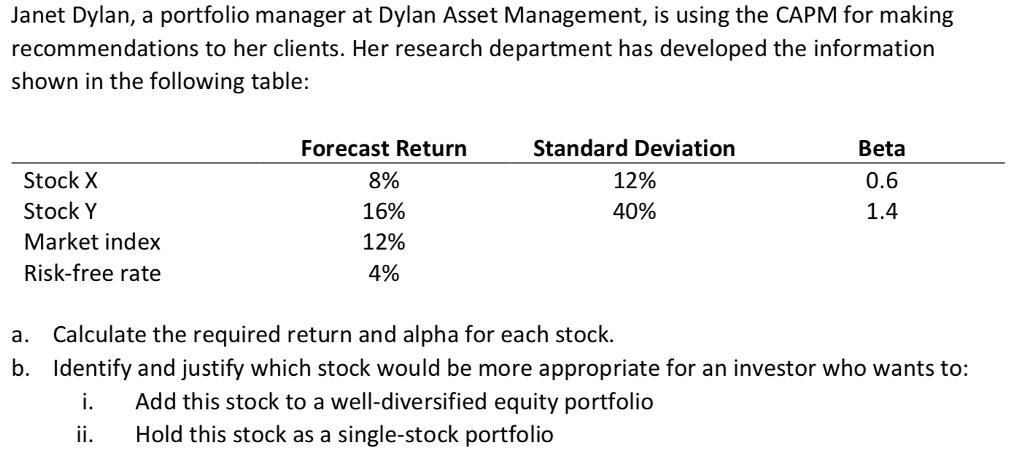 solved janet dylan a portfolio manager at dylan asset ma