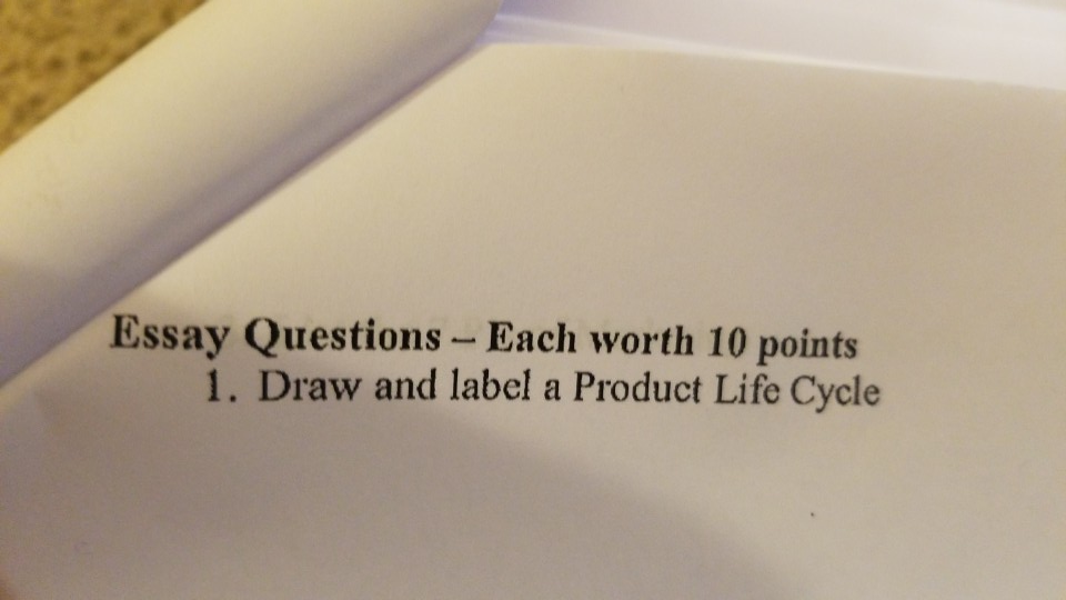 solved essay questions  each worth  points  draw and  essay questions  each worth  points  draw and label a product life cycle