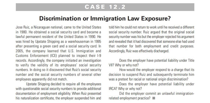 Solved: CASE 12 2 Discrimination Or Immigration Law Exposu