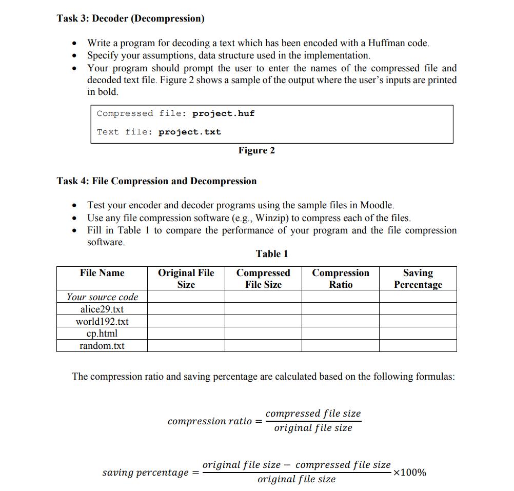 Solved: Task 1: Huffman's Algorithm Constructing Huffman T