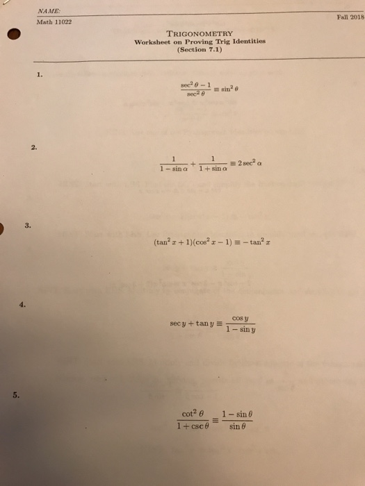 Solved Name Math 11022 Fall 2018 Trigonometry Worksheet O