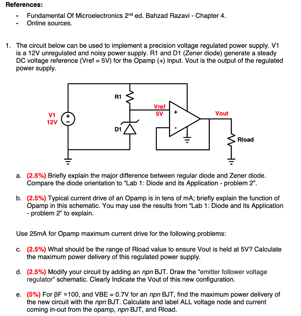 Solved References Fundamental Of Microelectronics 2nd Ed Diagram Come From Circuit Symmetrical Regulated Power Supply Bahzad Razavi Chapter 4 Online Sources