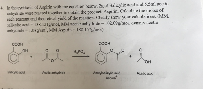 synthesis of aspirin equation