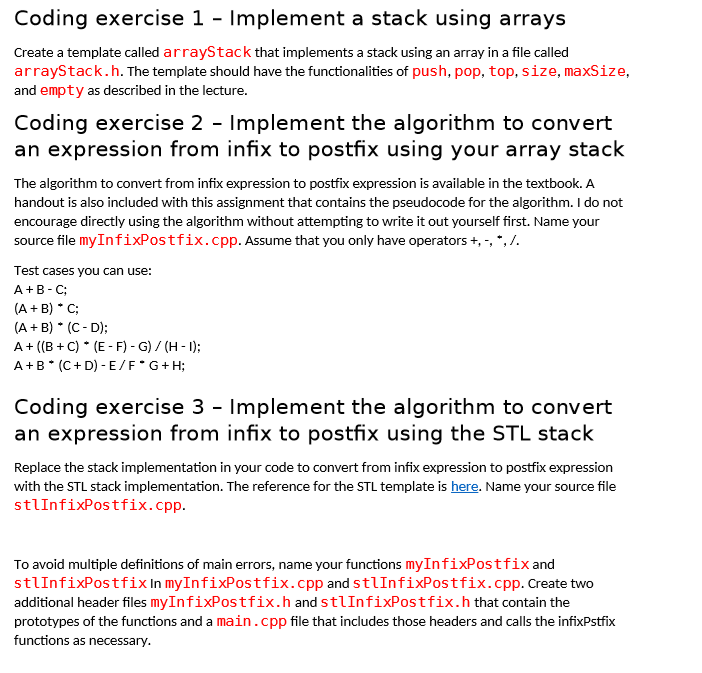 This Is In C++ And The 3 Exercises Are All A Part