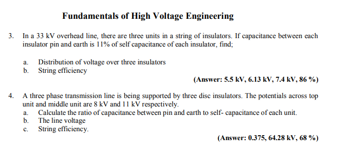 Solved: Fundamentals Of High Voltage Engineering 3  In A 3