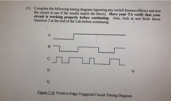 complete the following timing diagram (ignoring any switch bounce effects)  the circuit to see