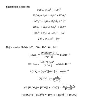 Equilibrium Reactions Major species: H:C0a, HC0, C0 H0, 0H, Ca 2.5 x10-4 [H2CO] [CO2-1[1,0+1 = s.61ェ10-11 (2) Ka,- (3) K = [