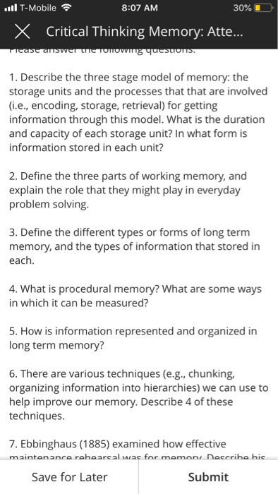 stage model of memory