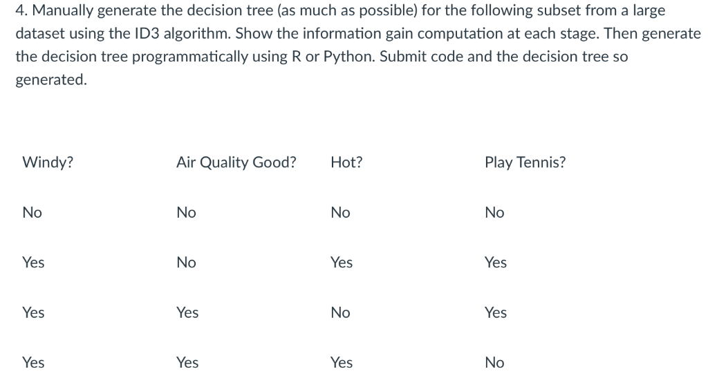 Manually Generate The Decision Tree (as Much As P    | Chegg com
