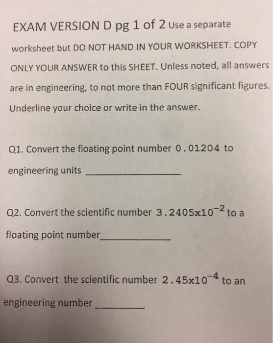 Solved: EXAM VERSION D Pg 1 Of 2 Use A Separate Worksheet