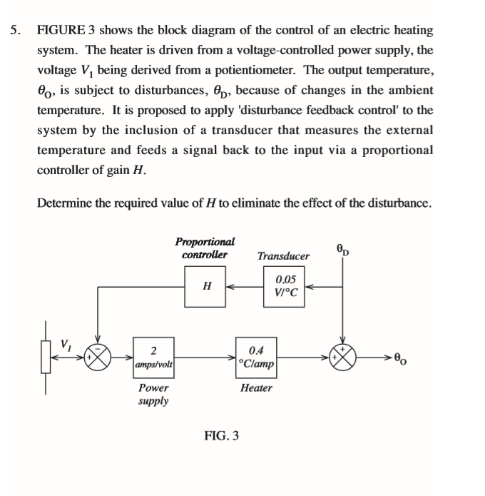 Solved 5 figure 3 shows the block diagram of the control figure 3 shows the block diagram of the control of an electric heating system ccuart Images
