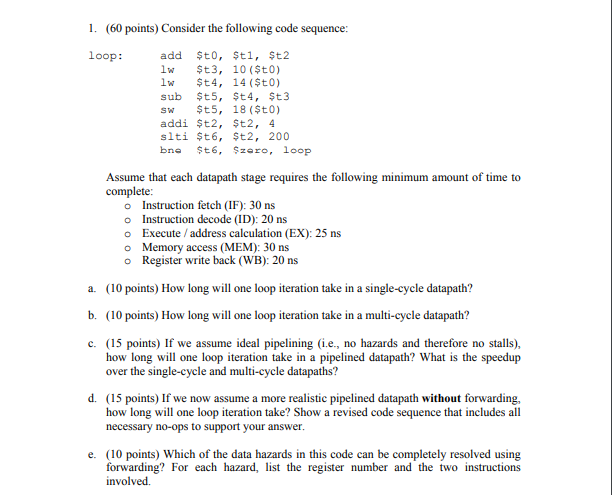 1  (60 Points) Consider The Following Code Sequenc    | Chegg com