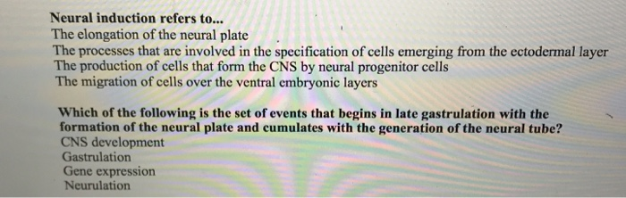 Neural induction refers to... The elongation of the neural plate The processes that are involved in the specification of cells emerging from the ectodermal layer The production of cells that form the CNS by neural progenitor cells The migration of cells over the ventral embryonic layers Which of the following is the set of events that begins in late gastrulation with the formation of the neural plate and cumulates with the generation of the neural tube? CNS development Gastrulation Gene expression Neurulation