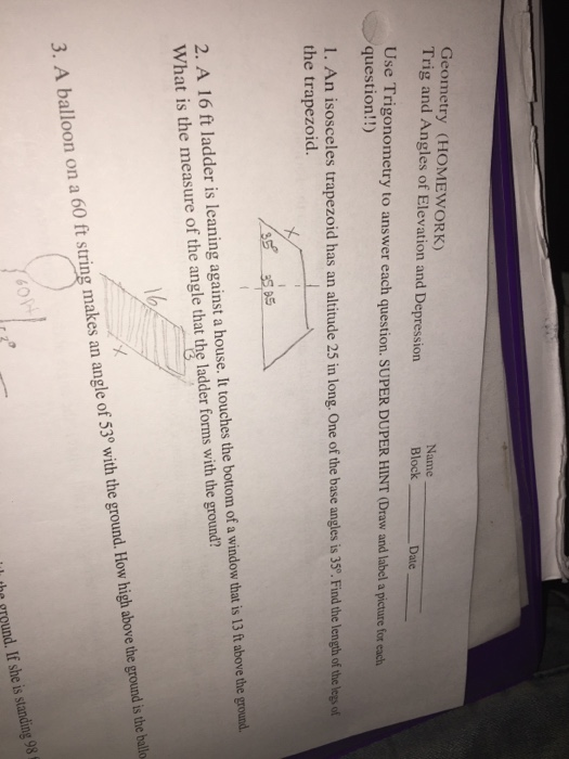 Solved Geometry Homework Trig And Angles Of Elevation A