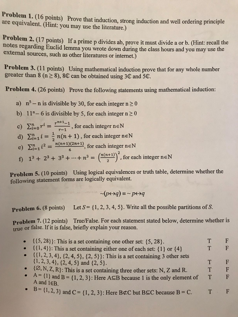 Solved: Can You Solve These 7 Problems From Discrete Mathe