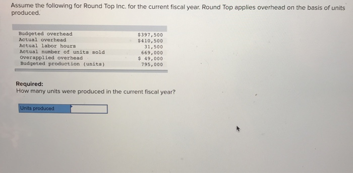Assume the following for Round Top Inc. for the current fiscal year. Round Top applies overhead on the basis of units produce