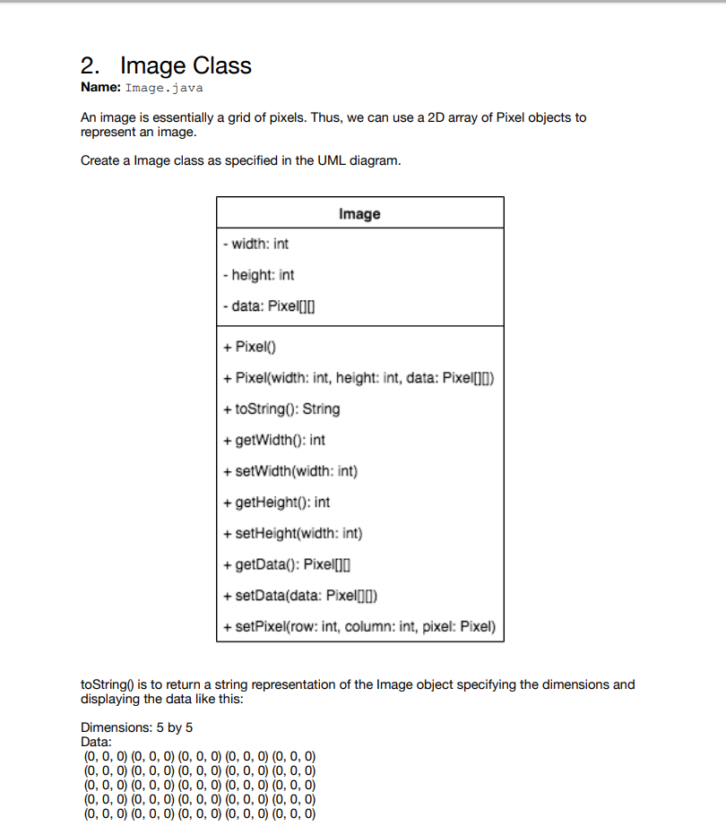 Solved: 2  Image Class Name: Image java An Image Is Essent