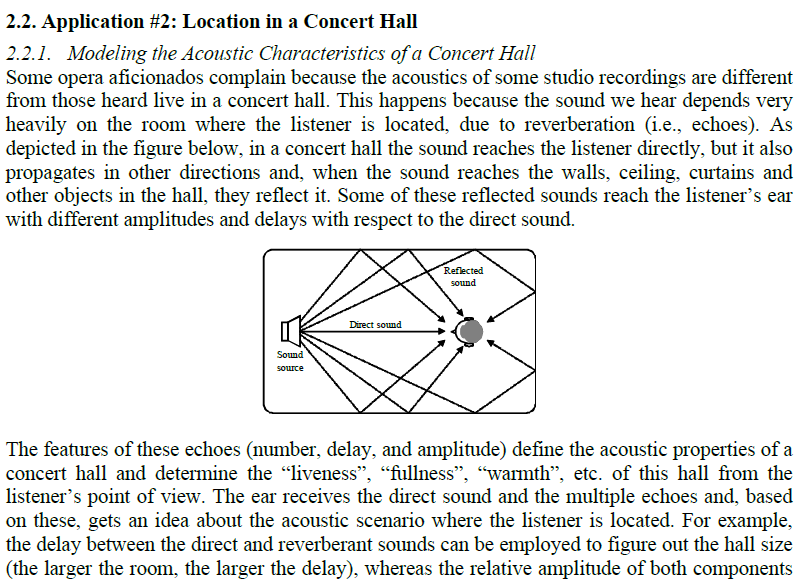 2 2  Application #2: Location In A Concert Hall 2     | Chegg com