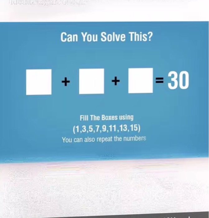 Solved: Can You Solve This? ______ + ______ + = 30 Fill Th ...
