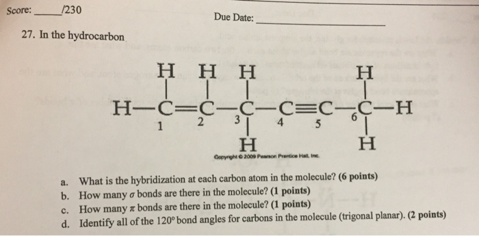 Solved: Score: 230 Due Date 27  In The Hydrocarbon H-C-C-C