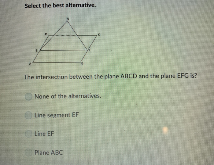 Solved: Select The Best Alternative  The Intersection Betw