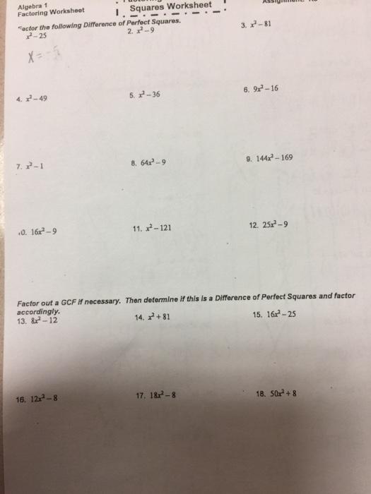 Solved Algebra 1 Factoring Worksheot I Squares Worksheet
