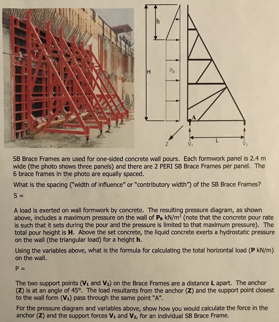 Solved: Pa SB Brace Frames Are Used For One-sided Concrete