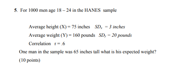 For 1000 Men Age 18 24 In The Hanes Sample Average Height