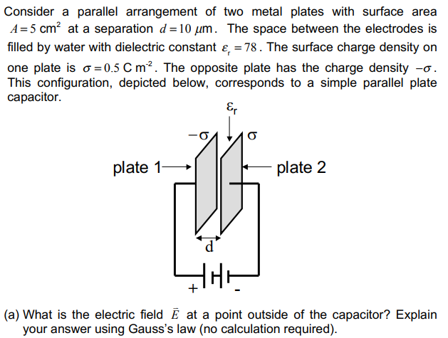 Consider A Parallel Arrangement Of Two Metal Plates With Surface Area A 5 Cm2 At