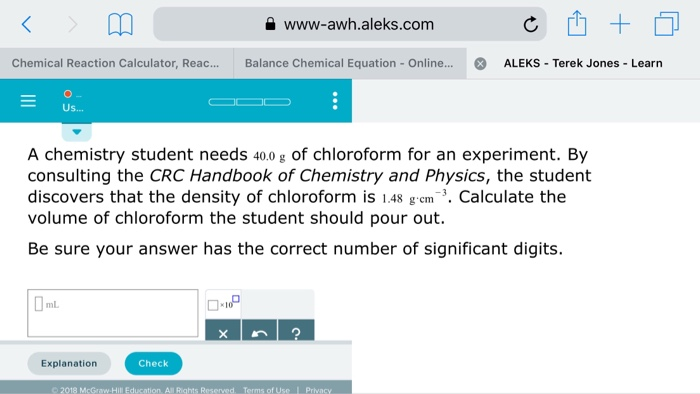 Solved: A Www-awh aleks com Chemical Reaction Calculator