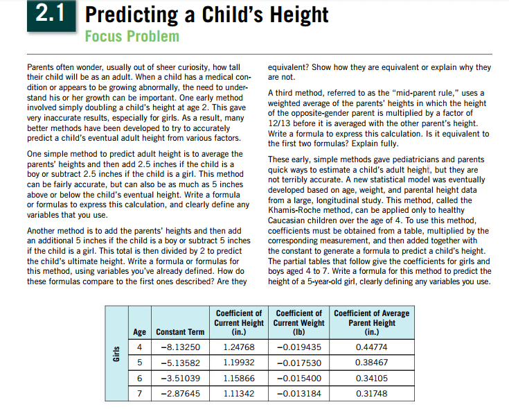 Is Curiosity As Good At Predicting >> Solved Predicting A Child S Height Focus Problem Parents
