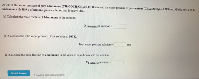 How to calculate the vapor pressure of acetone at 25.0°C