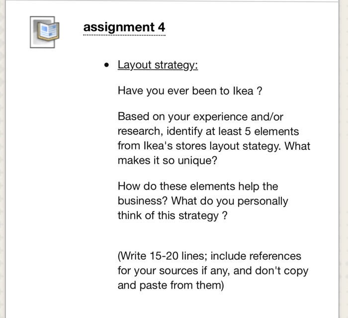research assignment layout