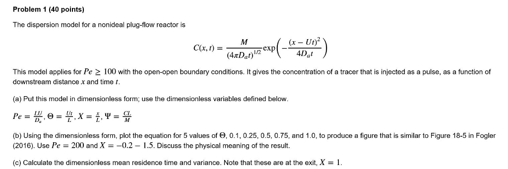 Problem 1 (40 Points) The Dispersion Model For A N