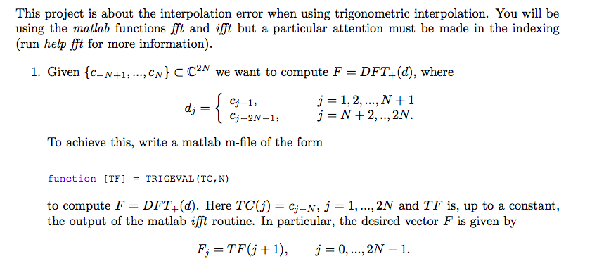 This Project Is About The Interpolation Error When Chegg Com