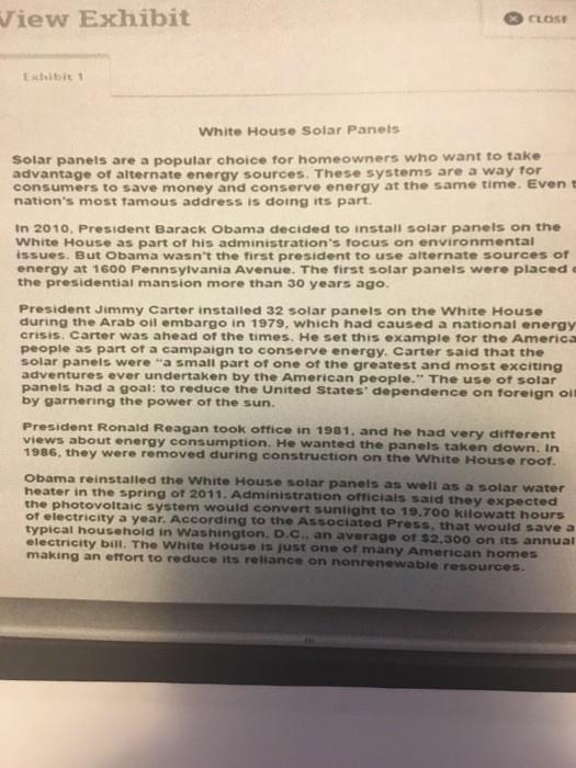 Solved: View Exhibit 3 CLOSE Exhibit1 White House Solar Pa