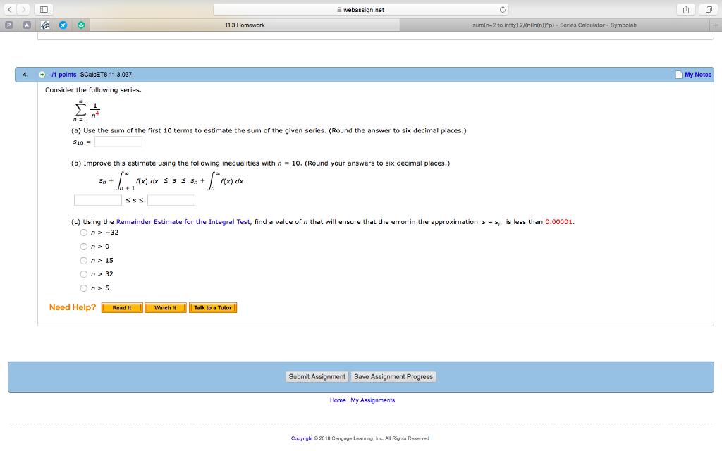 Solved: ID Webassign net 11 3 Homework Sumin-2 To Intty) 2