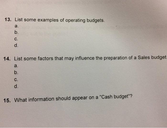 list some examples of operating budgets b c d 14