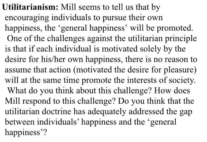 what is happiness according to mill