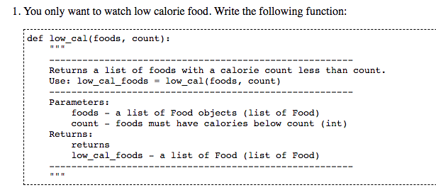 Solved Assume The File With All The Food And Calories Is