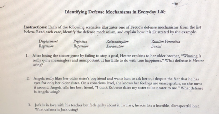 Solved Identifying Defense Mechanisms In Everyday Life In