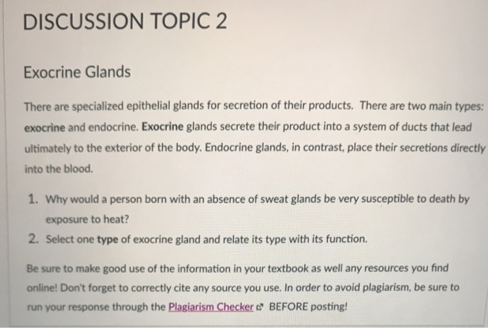 Solved Discussion Topic 2 Exocrine Glands There Are Speci