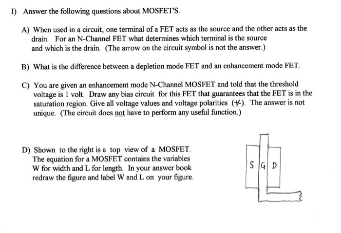 Solved Answer The Following Questions About Mosfets A