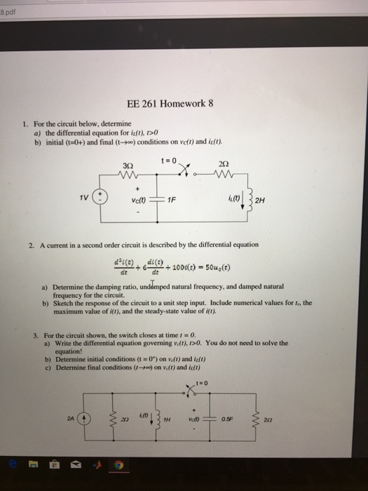 Solved: 8 Pdf EE 261 Homework 8 For The Circuit Below, Det