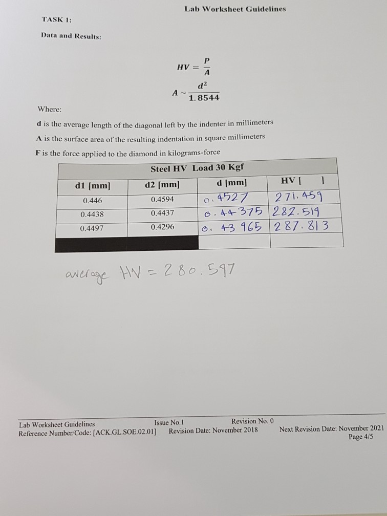 Solved: Lab Worksheet Guidelines TASK 1: Data And Results ...