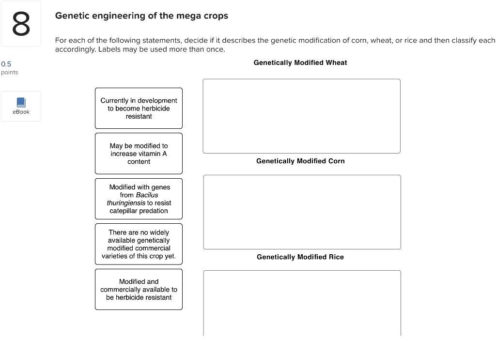 Solved: 8 Genetic Engineering Of The Mega Crops For Each O